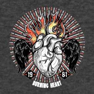 Burning Heart - Men's V-Neck T-Shirt by Canvas