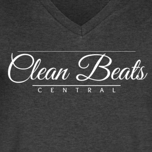 Clean Beats Central Formal Logo (White Text) - Men's V-Neck T-Shirt by Canvas