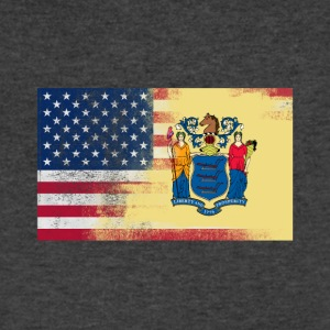 New Jersey American Flag Fusion - Men's V-Neck T-Shirt by Canvas
