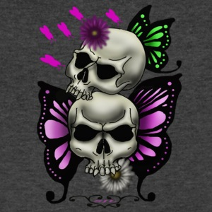 SKULLS WITH BUTTERFLIES AND DAISIES - Men's V-Neck T-Shirt by Canvas
