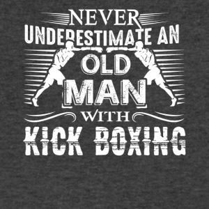 Never Underestimate Old Man With Kickboxing Shirt - Men's V-Neck T-Shirt by Canvas