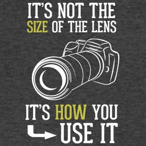 Its Not The Size Of The Lens Photographer T Shirt - Men's V-Neck T-Shirt by Canvas