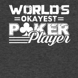 World's Okayest Poker Player Vintage Tee Shirt - Men's V-Neck T-Shirt by Canvas