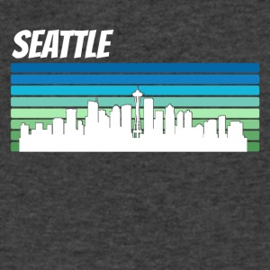 Retro Seattle Skyline - Men's V-Neck T-Shirt by Canvas