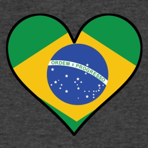 Brazilian Flag Heart - Men's V-Neck T-Shirt by Canvas