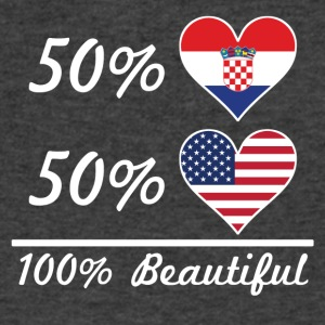 50% Croatian 50% American 100% Beautiful - Men's V-Neck T-Shirt by Canvas