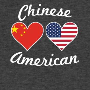 Chinese American Flag Hearts - Men's V-Neck T-Shirt by Canvas