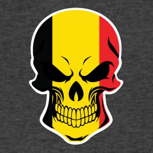 Belgian Flag Skull - Men's V-Neck T-Shirt by Canvas