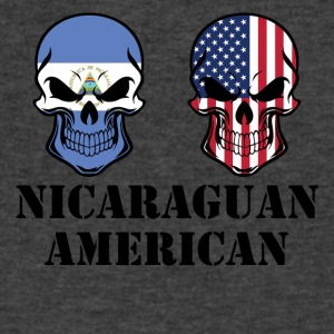 Nicaraguan American Flag Skulls - Men's V-Neck T-Shirt by Canvas