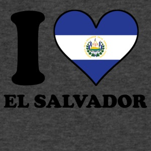 I Love El Salvador El Salvadorian Flag Heart - Men's V-Neck T-Shirt by Canvas