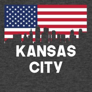 Kansas City MO American Flag Skyline - Men's V-Neck T-Shirt by Canvas