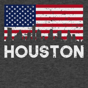 Houston TX American Flag Skyline Distressed - Men's V-Neck T-Shirt by Canvas