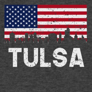 Tulsa OK American Flag Skyline Distressed - Men's V-Neck T-Shirt by Canvas