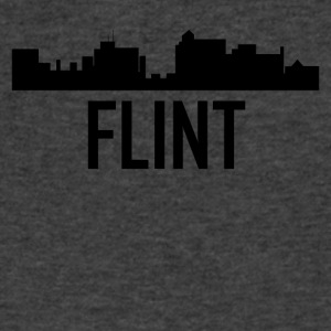 Flint Michigan City Skyline - Men's V-Neck T-Shirt by Canvas