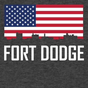 Fort Dodge Iowa Skyline American Flag - Men's V-Neck T-Shirt by Canvas