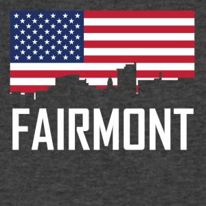 Fairmont West Virginia Skyline American Flag - Men's V-Neck T-Shirt by Canvas