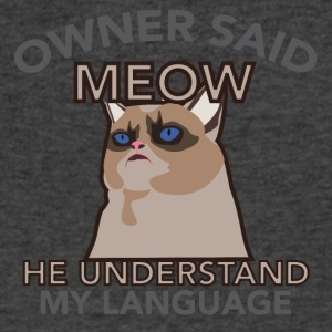 owner said meow - Men's V-Neck T-Shirt by Canvas