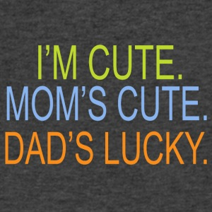 I m cute Mom s cute Dad s lucky - Men's V-Neck T-Shirt by Canvas