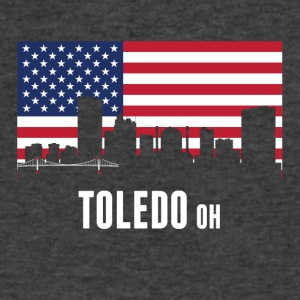 American Flag Toledo Skyline - Men's V-Neck T-Shirt by Canvas