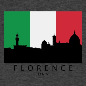 Florence Italy Skyline Italian Flag - Men's V-Neck T-Shirt by Canvas