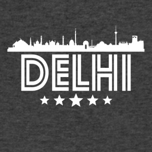 Retro Delhi Skyline - Men's V-Neck T-Shirt by Canvas