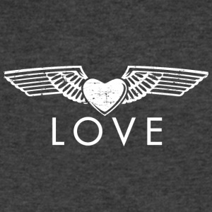 Love - Fashionable Wings Design (White) - Men's V-Neck T-Shirt by Canvas
