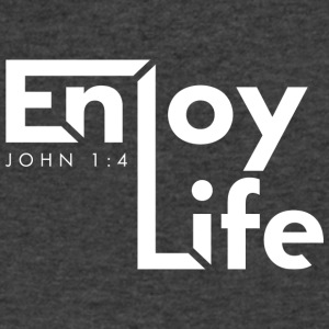 Enjoy Life (White) - Men's V-Neck T-Shirt by Canvas
