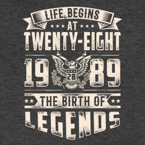 Life Begins at Thirty-Eight Legends 1989 for 2017 - Men's V-Neck T-Shirt by Canvas