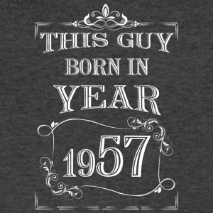 this guy born in year 1957 white - Men's V-Neck T-Shirt by Canvas