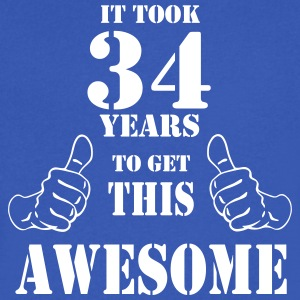 34th Birthday Get Awesome T Shirt Made in 1983 - Men's V-Neck T-Shirt by Canvas