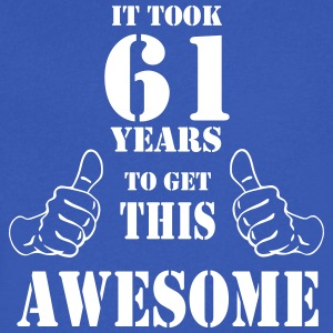 61st Birthday Get Awesome T Shirt Made in 1956 - Men's V-Neck T-Shirt by Canvas