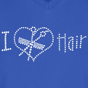 I Love Hair Rhinestone - Men's V-Neck T-Shirt by Canvas