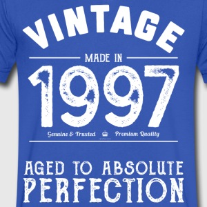 1997 Aged To Perfection: 20th Birthday Present - Men's V-Neck T-Shirt by Canvas