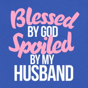 Blessed By God Spoiled By My Husband T Shirt - Men's V-Neck T-Shirt by Canvas