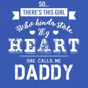 Girl Kinda Stole My Heart She Calls Me Daddy Shirt - Men's V-Neck T-Shirt by Canvas