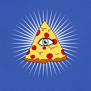 illuminati pizza All Seeing eye food Pyramide illu - Men's V-Neck T-Shirt by Canvas
