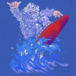 Surfin Yeti - Men's V-Neck T-Shirt by Canvas
