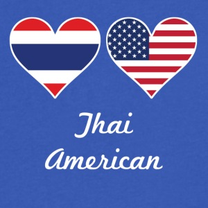 Thai American Flag Hearts - Men's V-Neck T-Shirt by Canvas