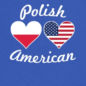 Polish American Flag Hearts - Men's V-Neck T-Shirt by Canvas