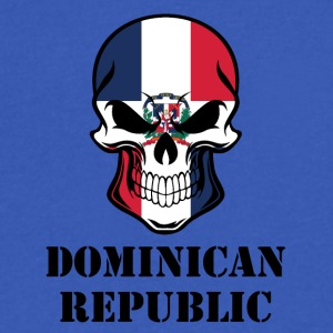 Dominican Flag Skull Dominican Republic - Men's V-Neck T-Shirt by Canvas