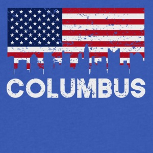 Columbus OH American Flag Skyline Distressed - Men's V-Neck T-Shirt by Canvas