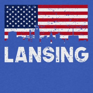 Lansing MI American Flag Skyline Distressed - Men's V-Neck T-Shirt by Canvas