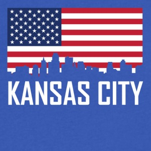 Kansas City Kansas Skyline American Flag - Men's V-Neck T-Shirt by Canvas