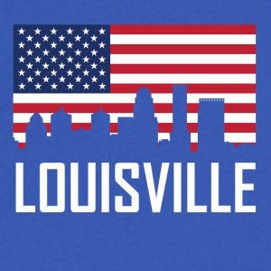 Louisville Kentucky Skyline American Flag - Men's V-Neck T-Shirt by Canvas