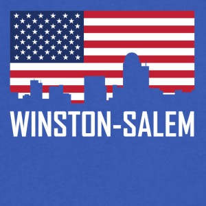Winston-Salem North Carolina Skyline American Flag - Men's V-Neck T-Shirt by Canvas
