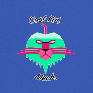 Cool Kat Mech. (Neon Glow) - Men's V-Neck T-Shirt by Canvas