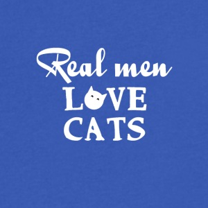 Real men love cats - Men's V-Neck T-Shirt by Canvas