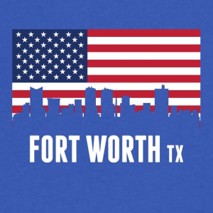 American Flag Fort Worth Skyline - Men's V-Neck T-Shirt by Canvas