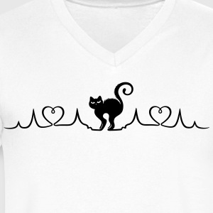 Heartbeat, love for cats - Men's V-Neck T-Shirt by Canvas
