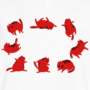 Fat Cats Dancing - Men's V-Neck T-Shirt by Canvas